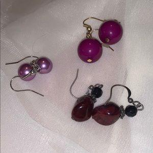 Purple Vintage Earrings, Set of 3